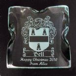 Glass Block Engraved with Family Crest, ref GCB1